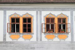 Windows of renaissance house in Zlata koruna. Decorated windows of renaissance house in Monastery Zlata koruna, Czech Republic Stock Images