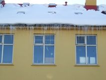 Windows of Reykjavik, regular, ice and snow. Reykjavik Iceland regular glass rectangular Stock Photo
