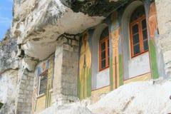 Windows of rock monastery Stock Photography