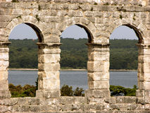 Windows of roman arena in Pula,Croatia Royalty Free Stock Images