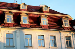 Windows and roof. The red roof and windows in old town Riga, Latvia Royalty Free Stock Image