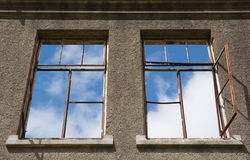Windows in a roofless old house Royalty Free Stock Photography