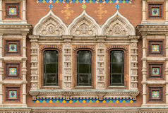 Windows in a row on facade of the Church of the Savior on Spilled Blood. Several windows in a row on facade of the Church of the Savior on Spilled Blood front Royalty Free Stock Photography