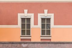Windows in a row on facade of office building. Two windows in a row on facade of urban office building front view, St. Petersburg, Russia Royalty Free Stock Images