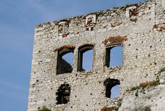 Windows in ruined medieval castle in Ogrodzieniec Stock Photos