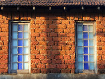 Windows of rural stone house Royalty Free Stock Photos