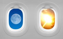 Windows samolot - przeciwieństwa przyciągają Fotografia Stock