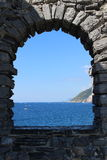 Windows on Sea. Wave and sail boat Stock Photo
