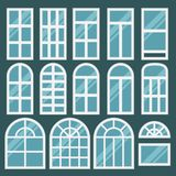Windows set with different design of frames. Shiny new window for web, building interior. Flat style. Collection of house construction. Vector Royalty Free Stock Photos