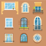 Windows set in different styles and forms. Window frames exterior view. Vector Illustrations royalty free illustration