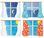 Windows set with pattern curtains Stock Photo