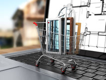 The windows in the shopping cart on notebook keyboard. Royalty Free Stock Photography