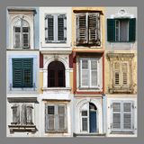 Windows and shutters. Windows with  shutters  in the old cities of Porec and Opatija, collage Stock Photos