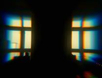 Windows silhouette ith chroma bokeh backdrop Royalty Free Stock Photos