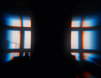 Windows silhouette ith chroma bokeh backdrop Stock Photo