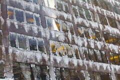 Windows  with snow and ice. Stock Image