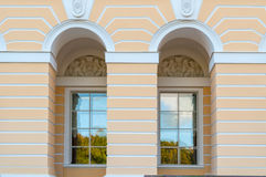 Windows in the spans of Mikhailovsky palace, building of the State Russian museum in St Petersburg, Russia Royalty Free Stock Images