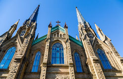 Windows and Steeples on Gothic Church Royalty Free Stock Photos