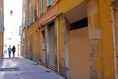 Windows in the streets of Nice French riviera, mediterranean coast, Saint-Tropez, Cannes and Monaco. Blue water and luxury yachts. Windows in the streets of Stock Photo