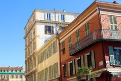 Windows in the streets of Nice French riviera, mediterranean coast, Saint-Tropez, Cannes and Monaco. Blue water and luxury yachts. Windows in the streets of Stock Photos