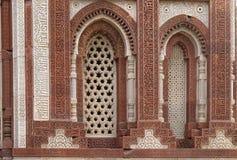 Windows with sunglow in Alai Minar, Qutab Minar complex, Delhi Royalty Free Stock Photo