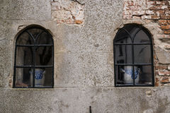 Windows with terracotta pots Royalty Free Stock Photo