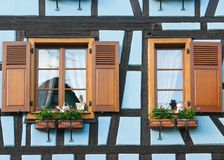 Windows of Timber Framing House Stock Image