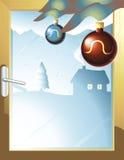 Windows to happines. Vector illustration of window winter scene Stock Images