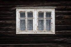 Chlebnice village in Orva region. Windows of a traditional log cabin, Orava region, Slovakia stock photo