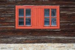 Chlebnice village in Orva region. Windows of a traditional log cabin, Orava region, Slovakia stock photos