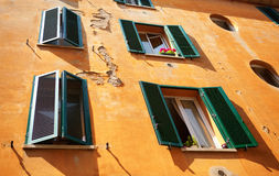 Windows and traditional shatters in Bologna Royalty Free Stock Photo