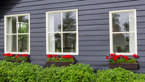 Windows of a tradtional wooden house with red flowers Stock Photo