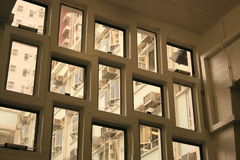Windows of various sizes and shape. Looking through windows of various square and rectangle shapes through indoor Stock Photos