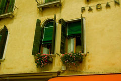 Windows in Venice. Fragment of a typical building in Venice Royalty Free Stock Images
