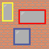 The windows on the wall. Colorful windows on the bricks wall vector background Royalty Free Stock Photos