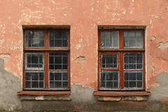 Windows on the wall of an old house Royalty Free Stock Images