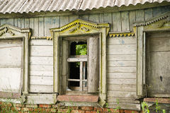 The windows in the wall of the old wooden house Royalty Free Stock Photo