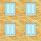 Windows on wall Royalty Free Stock Photos