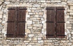 Windows on wall stone Royalty Free Stock Image