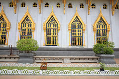 Windows and wall of wat Sothon in Chachoengsao. Windows and wall with garden decoration in wat Sothon Wararam Worawihan, the landmark of Chachoengsao province royalty free stock images