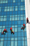 Windows washer. Group of windows washer cleaning the high building glass Royalty Free Stock Photography