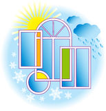 Windows and weather. Vector illustration Stock Illustration