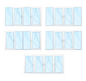 Windows with white frames and blue glass set isolated   Stock Image