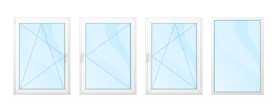 Windows with white frames and blue glass set isolated   Royalty Free Stock Image