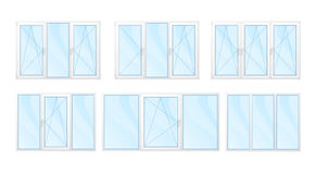 Windows with white frames and blue glass set isolated   Royalty Free Stock Images