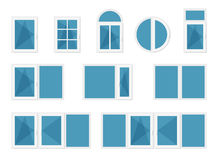 Windows with white frames Stock Photo