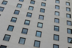 Windows. White painted bricks and black accented windows on a highrise building in Newark, New Jersey stock photography
