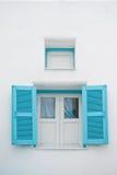 Windows on white wall Stock Photo