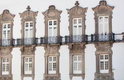 Windows on a white wall Royalty Free Stock Photography
