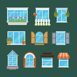 Windows with window sills curtains flowers balconies flat vector set Royalty Free Stock Photography